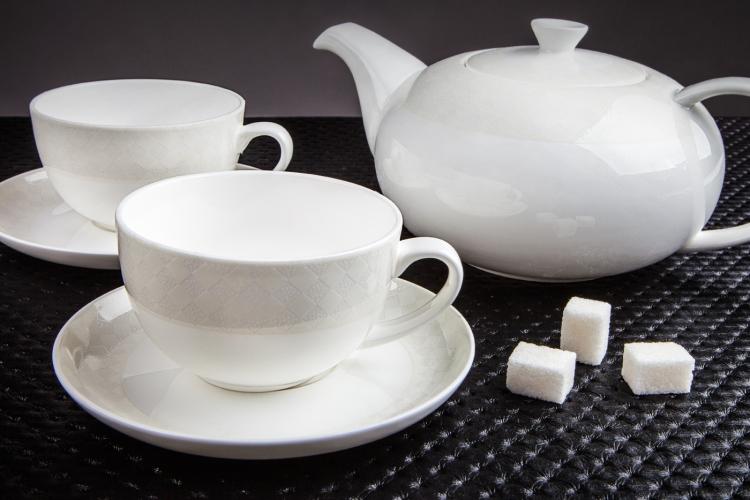 Чайный сервиз encanto, склад 3 цвет:белый, коричневый, золотоматериал:костяной фарфорвысота:40длина:50ширина:50вес:3